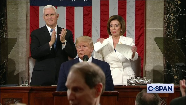 House Speaker Nancy Pelosi tears up State of the Union speech, From InText