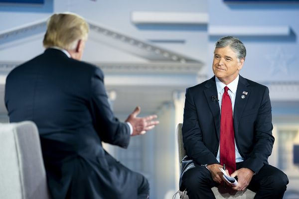 Sean Hannity interviewing Donald Trump for Fox News, From InText