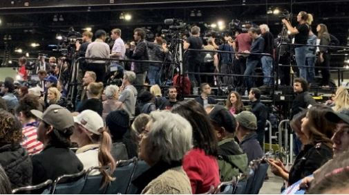 The press pen at a crowded Bernie Sanders rally on March 1, 2020