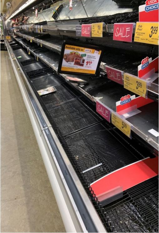 Empty shelves in the meat department on March 15, 2020