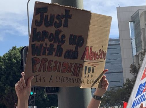A sign spotted at the Los Angeles celebration, From Uploaded