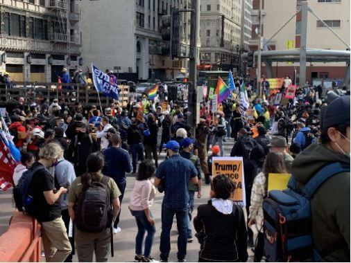 A crowd celebrates Biden's win in Los Angeles