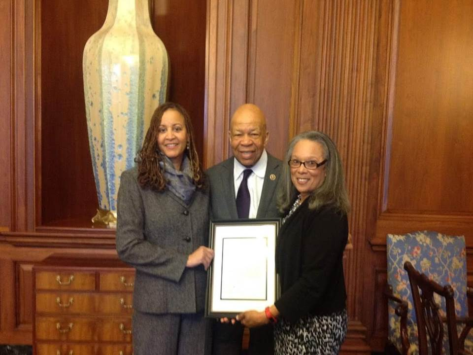Tanya Ward Jordan, C4C President (left), Paulette Taylor, C4C Civil Rights Chair (right) pose with the late Rep. Elijah Cummings (center) after being recognized for their input on EEO reforms., From Uploaded