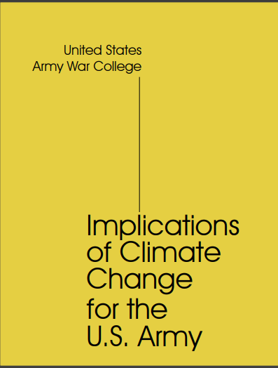 Cover of The Milley Report on the effercts of climate change on the Army (2019)