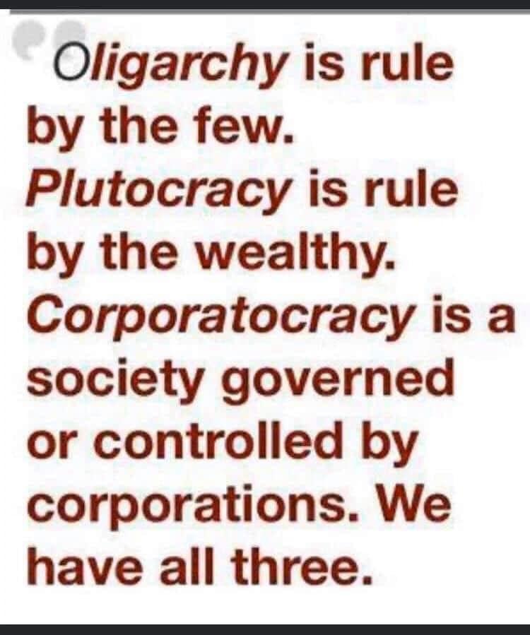 Ligarchy, Corporatocracy, Plutocracy